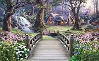 """Чудесные 3D фотообои """"Волшебный домик с мостиком около ручья"""""""