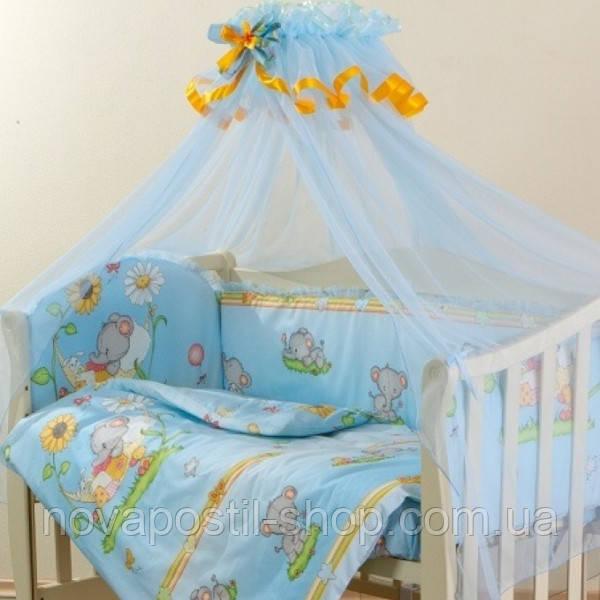 Набор в детскую кроватку Малыш Lux Слоники голубой  (6 предметов)