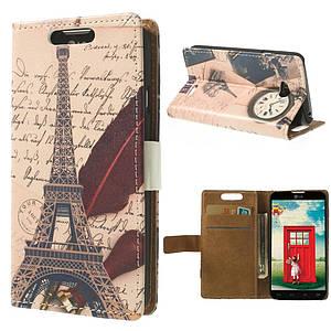 Чехол книжка для LG L65 Dual D285, боковой с отсеком для визиток, Эйфелева башня и часы