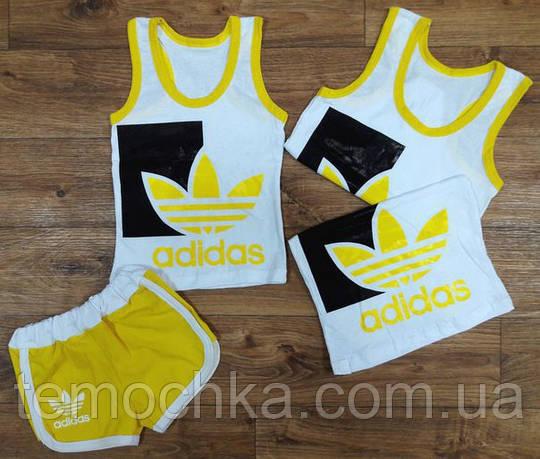 Желтый костюм Майка и шорты Adidas