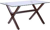 Стол обеденный Vesca Каркас орех/стекло прозрачное