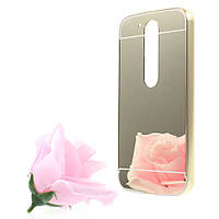 Чехол накладка бампер Mirro-like для Motorola Moto G4 G4 Plus золотой