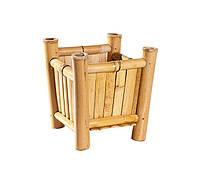 Вазон бамбуковый, квадратный, 35х37 см