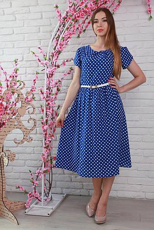 2d98077ff5f Яркое молодежное стильное платье в горошек с поясом из штапеля 44 46 ...