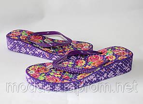 Вьетнамки женские фиолетовые на танкетке с цветами, фото 2