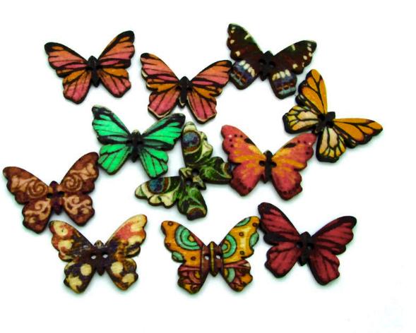 Пуговица Бабочка коричневая деревянная 24 мм 5 штук. Гудзик метелик