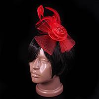 Женская шляпка-цветок на заколке, красная, с бантом и перьями