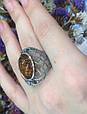 Серебряный комплект серьги и кольцо с золотом и янтарем, фото 6