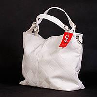 Белая большая сумка-мешок матовая женская