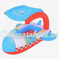 """Детский надувной скутер-плотик """"Самолет"""" с тентом для защиты от солнца: 102х97см ( Bestway 34100)"""