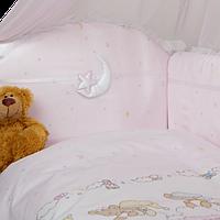 Набор в детскую кроватку Ноченька шапочки розовый  (6 предметов), фото 1