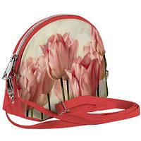 Сумочка Кокетка с принтом Розовые тюльпаны