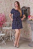 Красивое женское короткое летнее платье из штапеля с принтом сердец