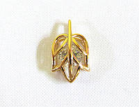 Кулон листик с камнем, позолота 18 К, Xuping