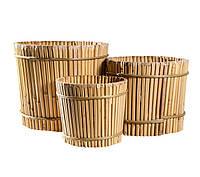 Вазон бамбуковый, круглый, 21х19 см