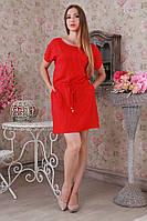 Очаровательное женское красное летнее платье в горошек