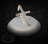 Крестик серебряный с золотыми вставками 1