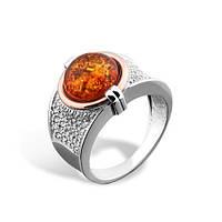 Перстень серебряный с золотом и янтарем 34535