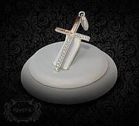 Крестик серебряный с золотыми вставками 6