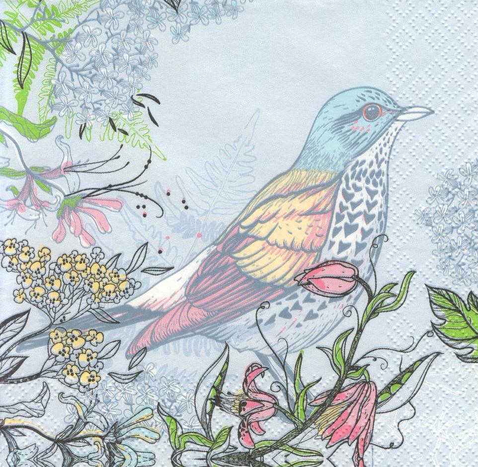 Салфетка декупажная Птица на голубом фоне 5888