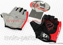 Перчатки без пальцев L-черно-красные, с мягкими вставками под ладонь