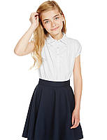 Школьнаяблуза трикотажнаябелаяс коротким рукавом на девочку 5-6-7-8-9-10 лет Marks&Spencer Англия, фото 1