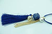 Женские украшения на шею. Синие кулоны с кисточками оптом. 186