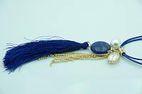 Модные женские украшения на шею. Синие кулоны с кисточками оптом. 187