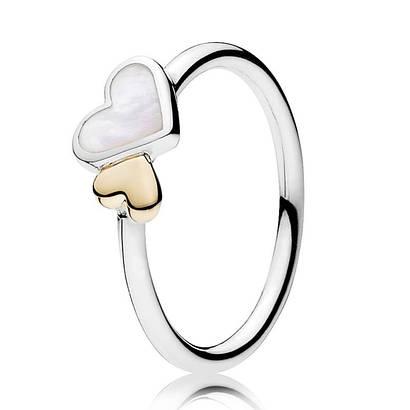Кольцо «Светящиеся сердца» из серебра 925 пробы