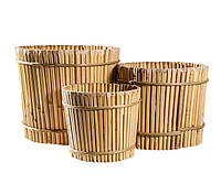 Вазон бамбуковый, круглый, 27х24 см