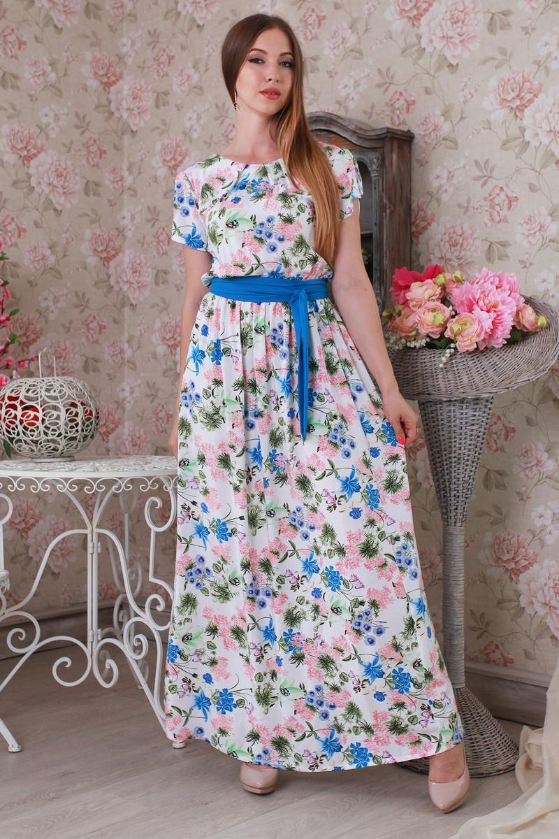 Літній гарне модне плаття в підлогу з легкого штапелю.