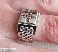 Серебряное мужское кольцо перстень с крестом