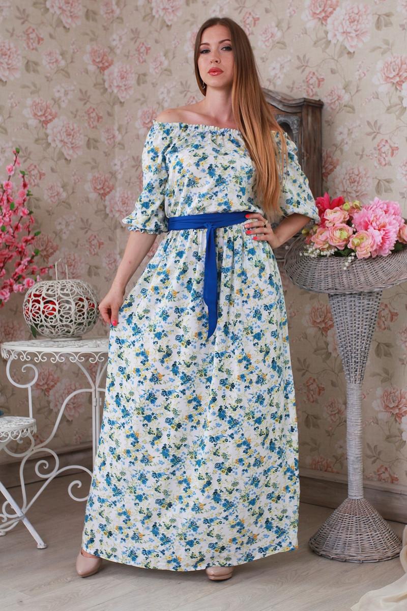 """Летнее красивое белое платье в пол с вырезом """"Анжелика"""""""