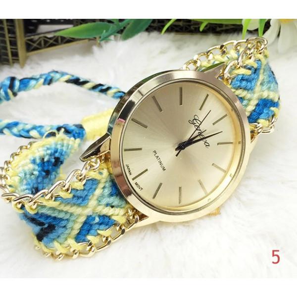 Женские часы Geneva с оригинальным ремешком из ниток