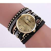 Женские часы Geneva с широким ремешком с камешками