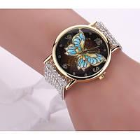 Женские часы с бабочкой и оригинальным ремешком украшенным камешками