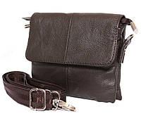 Небольшая кожаная сумочка на ремень коричневая