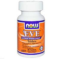 Комплекc витаминов Ева для женщин Eve Multivitamins, Now Foods, 90 таблеток