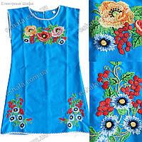 Платье Туника ''Дианочка'' Лен Вышитая гладью с мальвами калиной и васильками. Голубая