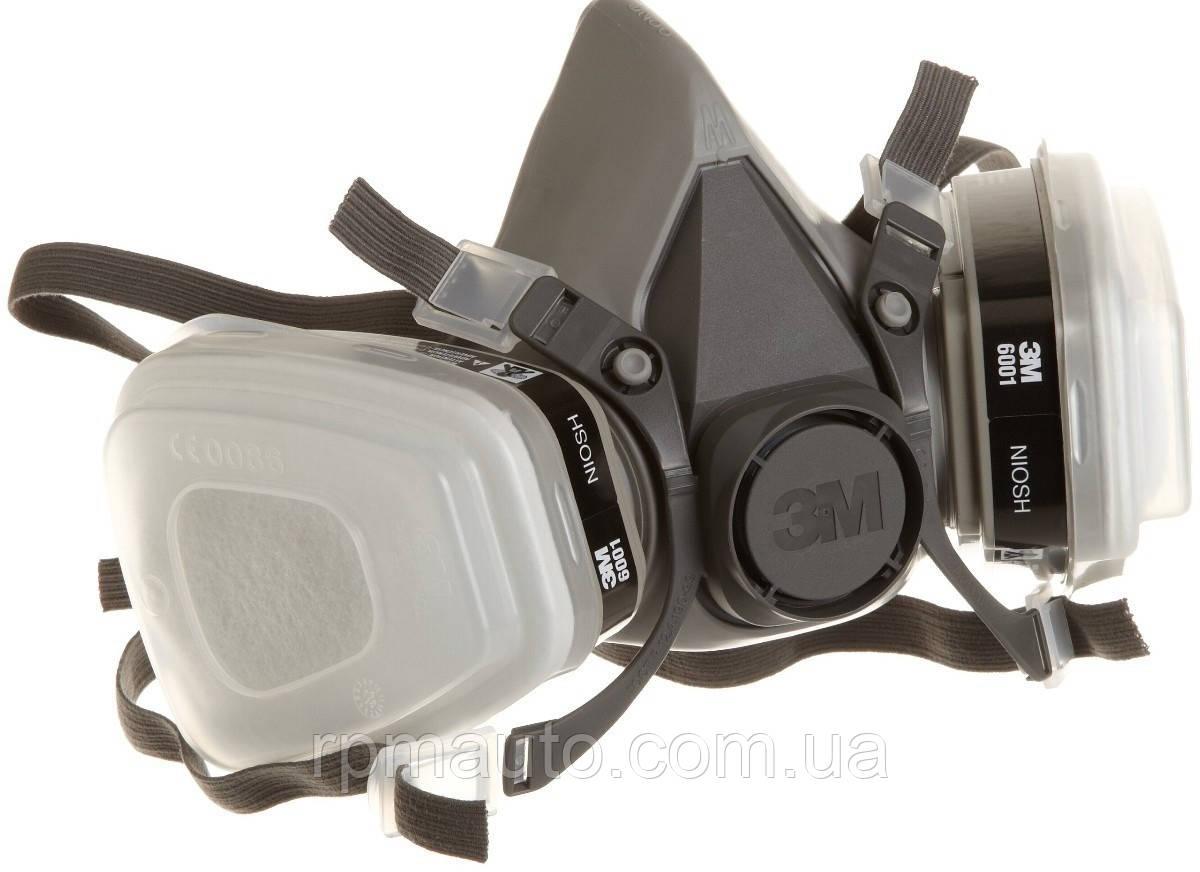 3М 6200 (М) Маска Резиновая  в Сборе с Угольным Фильтром Респиратор для Покраски Защитная Полумаска от Пыли