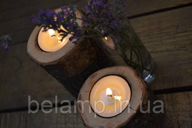 подсвечники из натурального дерева в стиле рустик