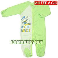 Человечек для новорожденного р. 68 демисезонный ткань ИНТЕРЛОК 100% хлопок ТМ Алекс 3039 Зеленый-1
