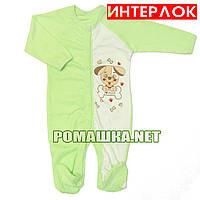 Человечек для новорожденного р. 68 демисезонный ткань ИНТЕРЛОК 100% хлопок ТМ Алекс 3039 Зеленый-3