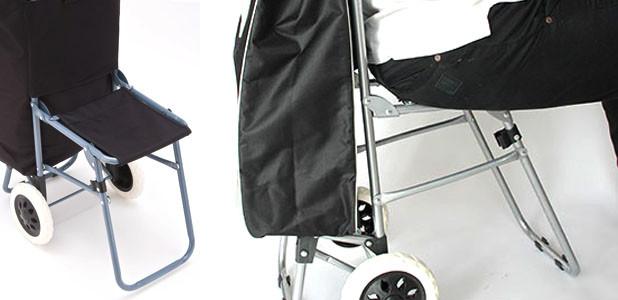 Сумка-тележка хозяйственная со стульчиком,на шести калесах