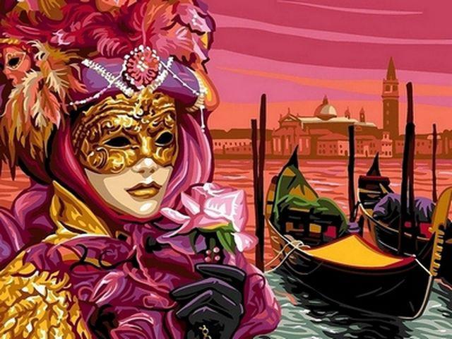 Раскраски по номерам 30×40 см. Венецианская маска - kartiny.com.ua в Харькове