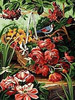 Раскраски для взрослых 30×40 см. Корзинка с розами