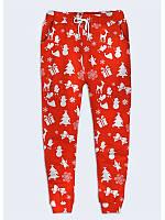 Прекрасные женские брюки Новогодний принт с ярким праздничным рисунком XS
