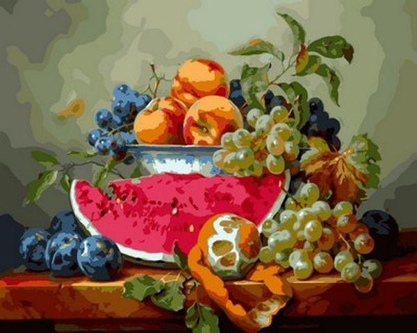 Раскраски для взрослых 40×50 см. Натюрморт с арбузом и виноградом , фото 1