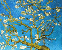 Раскраски для взрослых 40×50 см. Цветущие ветки миндаля