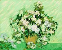 Раскраски для взрослых 40×50 см. Ваза с розами